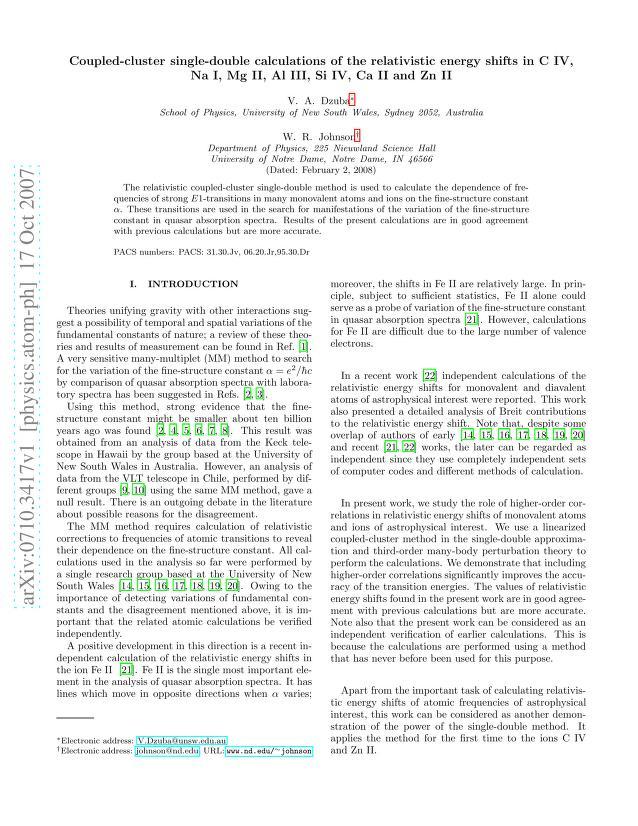 V. A. Dzuba - Coupled-cluster single-double calculations of the relativistic energy shifts in C IV, Na I, Mg II, Al III, Si IV, Ca II and Zn II