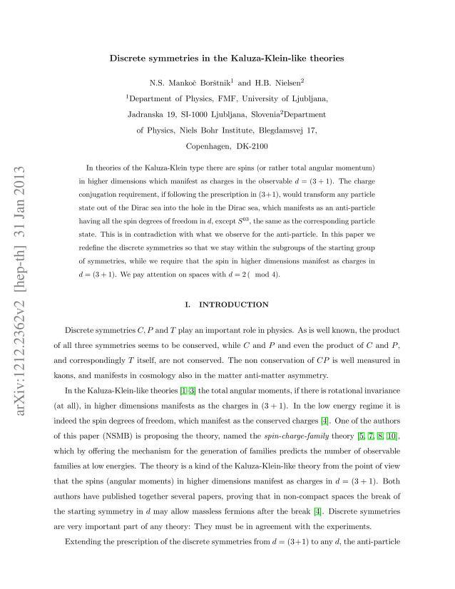 N. S. Mankoc Borstnik - Discrete symmetries in the Kaluza-Klein-like theories
