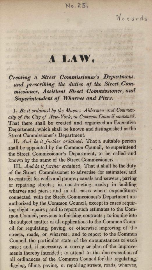 New York (N.Y.). - A law, creating a Street Commissioner's Department, and prescribing the duties of the Street Commissioner, Assistant Street Commissioner, and Superintendent of Wharves and Piers