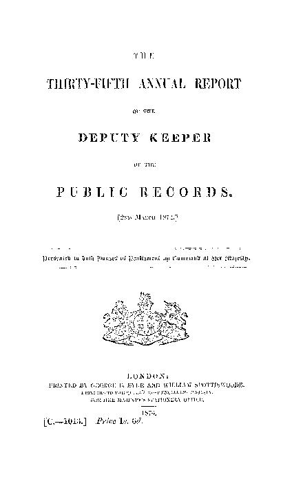 Annual report made by the Deputy Keeper of the Public Records by